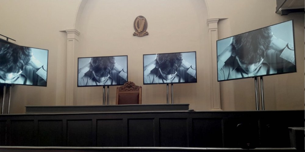 04. The Trial_ 4 Channel Synced Video _ Sound Installation, Old Courtroom, Kilmainham Goal, Dublin 8. 2018. Artist Sinead McCann_