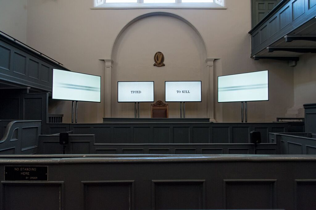 12. The Trial_ 4 Channel Synced Video _ Sound Installation, The Olc Courtroom, Kilmainham Goal Museum, Dublin 8. 2018 Artist. Sinead McCann
